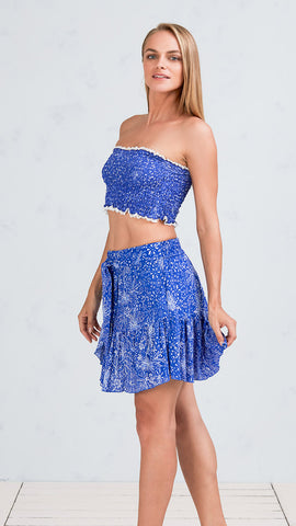 MINI SKIRT NOLA - BLUE BLUE GEO BATIK VERTICAL