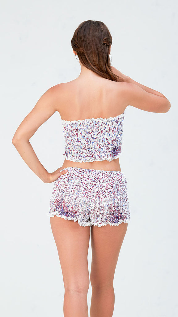 SHORTY WITH LACE  - WHITE BLUE FISH BATIK ROMBO