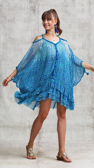 DRESS PONCHO PALOMA COLD SHOULDER - BLUE MOZAIC