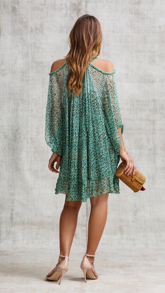 DRESS PONCHO PALOMA COLD SHOULDER - GREEN MOZAIC