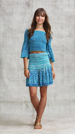 MINI SKIRT TAMARA SMOCKED - BLUE MOZAIC