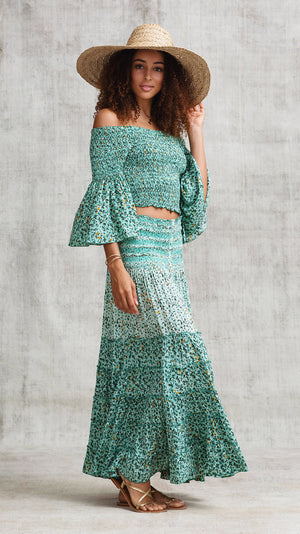 LONG SKIRT FOE PANELLED  - GREEN MOZAIC