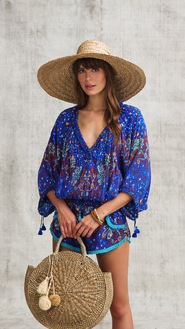 TOP BLOUSE PALOMA RUFFLED - BLUE CACTUS