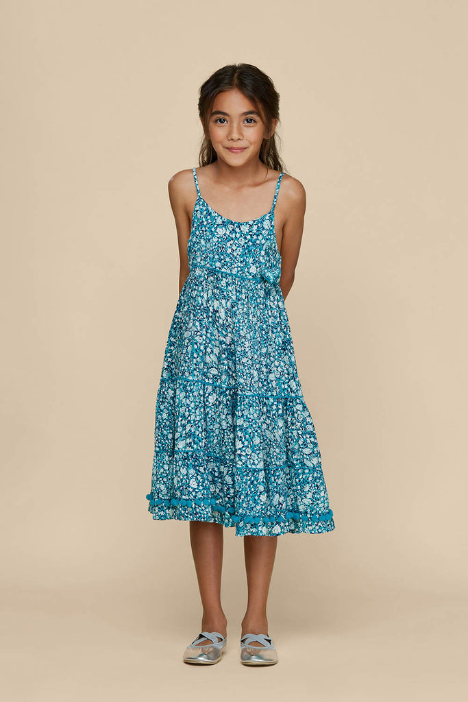 Kids Long Dress Pippa Panelled - Aqua Aspen