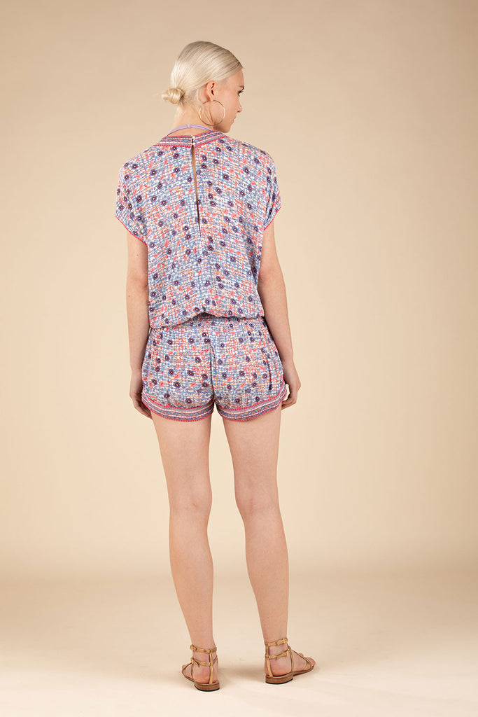 Short Jumpsuit Amora Pompom Trimmed - Blue Bloom