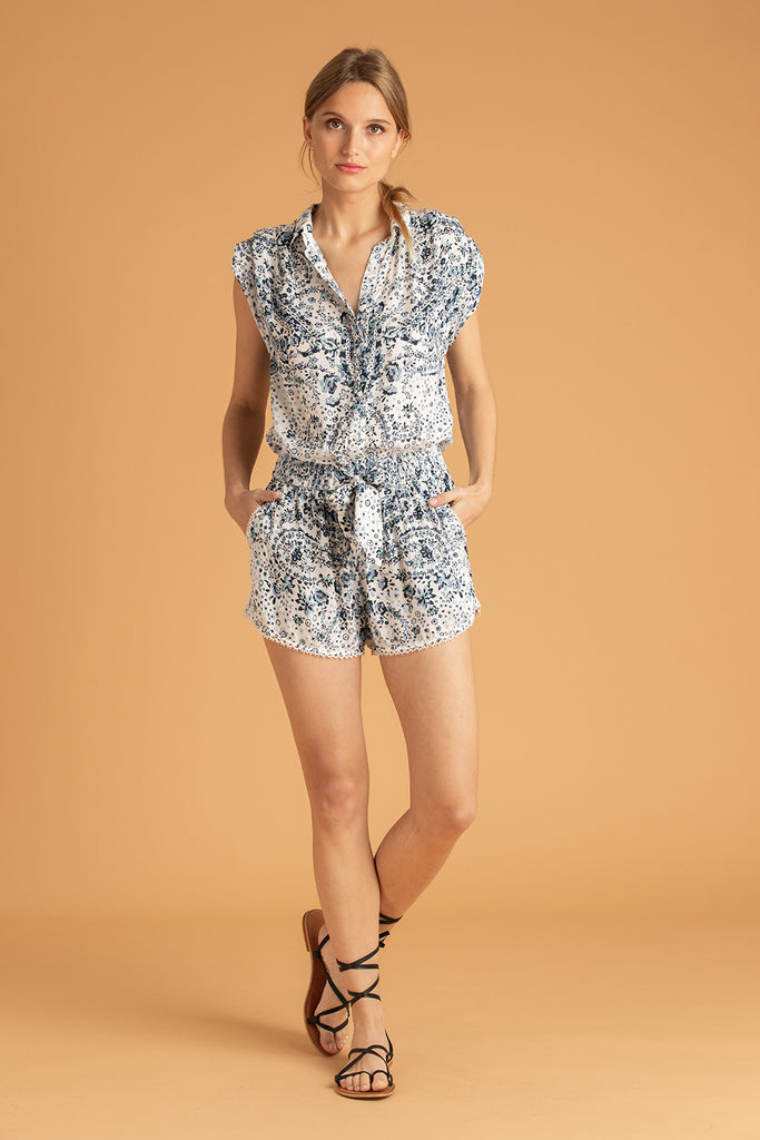 Short Jumpsuit Anita Pleated - White Blue Paisley