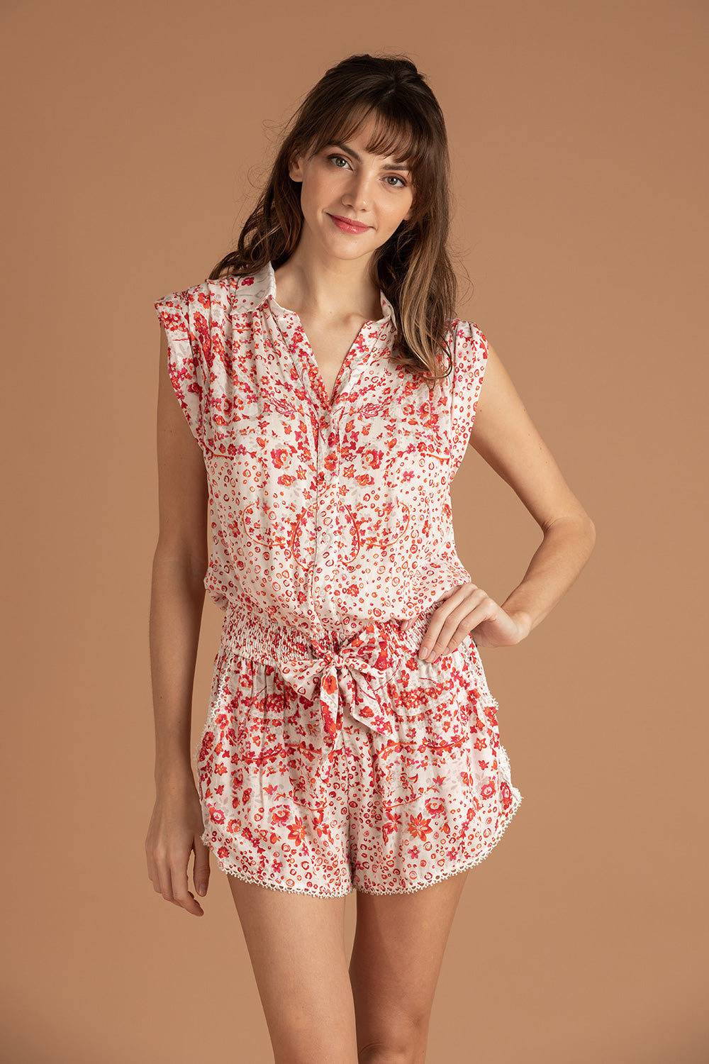 Short Jumpsuit Anita Pleated - White Pink Paisley