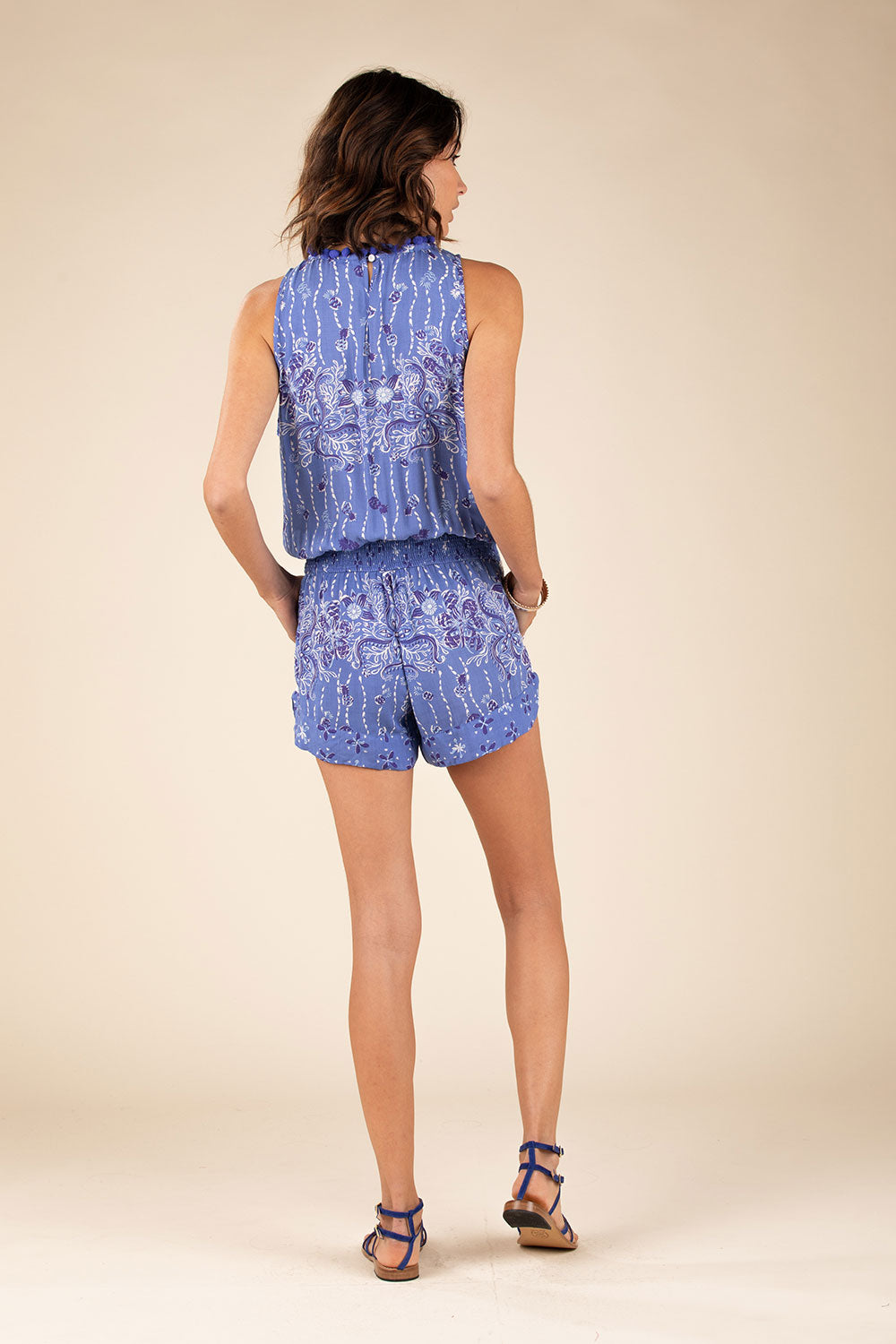 Short Jumpsuit Bonnie Ruffled - Blue Pineapple Batik Rombo