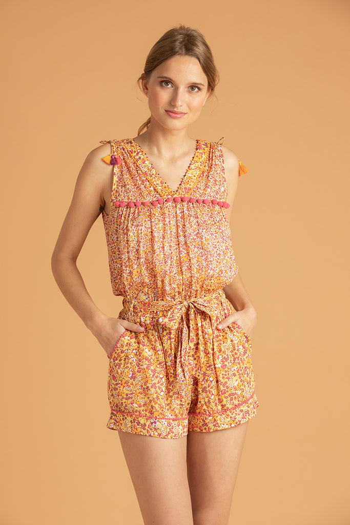 Short Jumpsuit Mya Pompom Trimmed - Yellow Glory