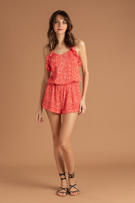 Short Jumpsuit Foe Lace Trimmed - Pink Paisley