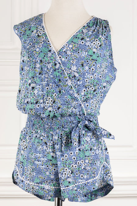 Short Jumpsuit Camila Sequins - White Blue Celery