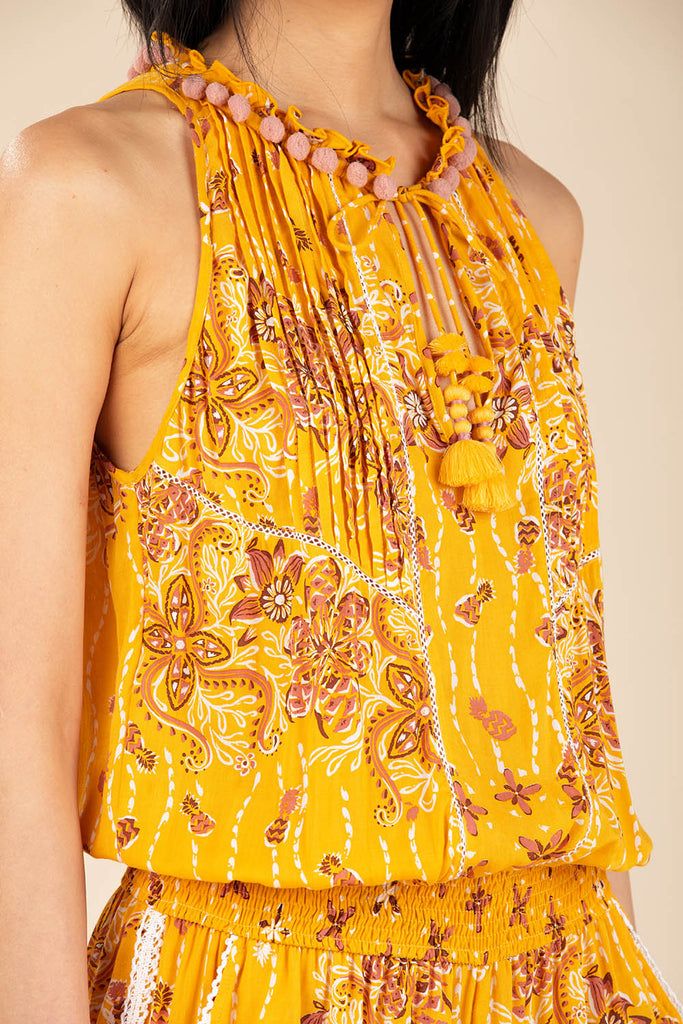 Short Jumpsuit Bonnie Ruffled - Yellow Pineapple Batik Rombo