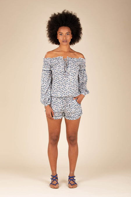 Short Jumpsuit Clara Off Shoulder - Blue Bell