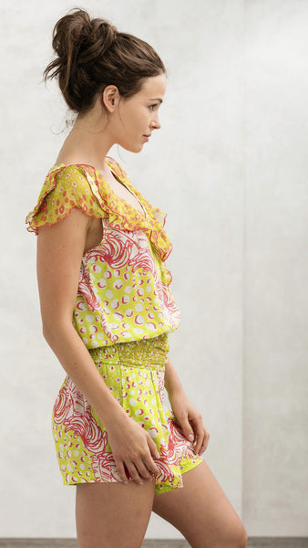 Short Jumpsuit Coco - Lime & Pink Banana