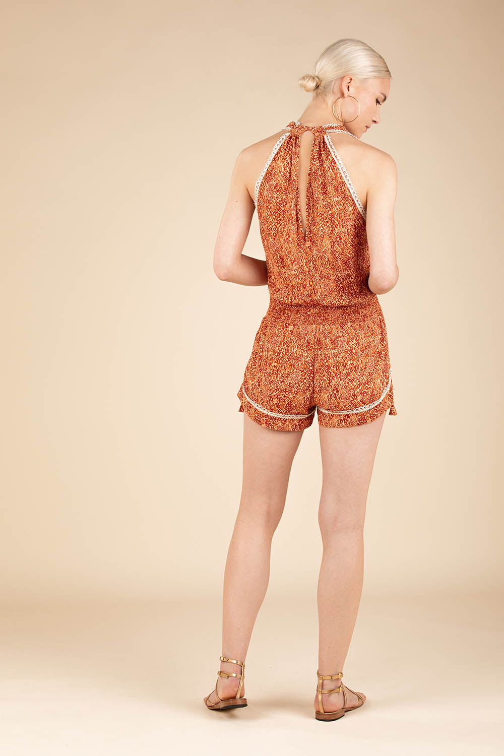 Short Jumpsuit Jena Sleeveless - Orange Wild