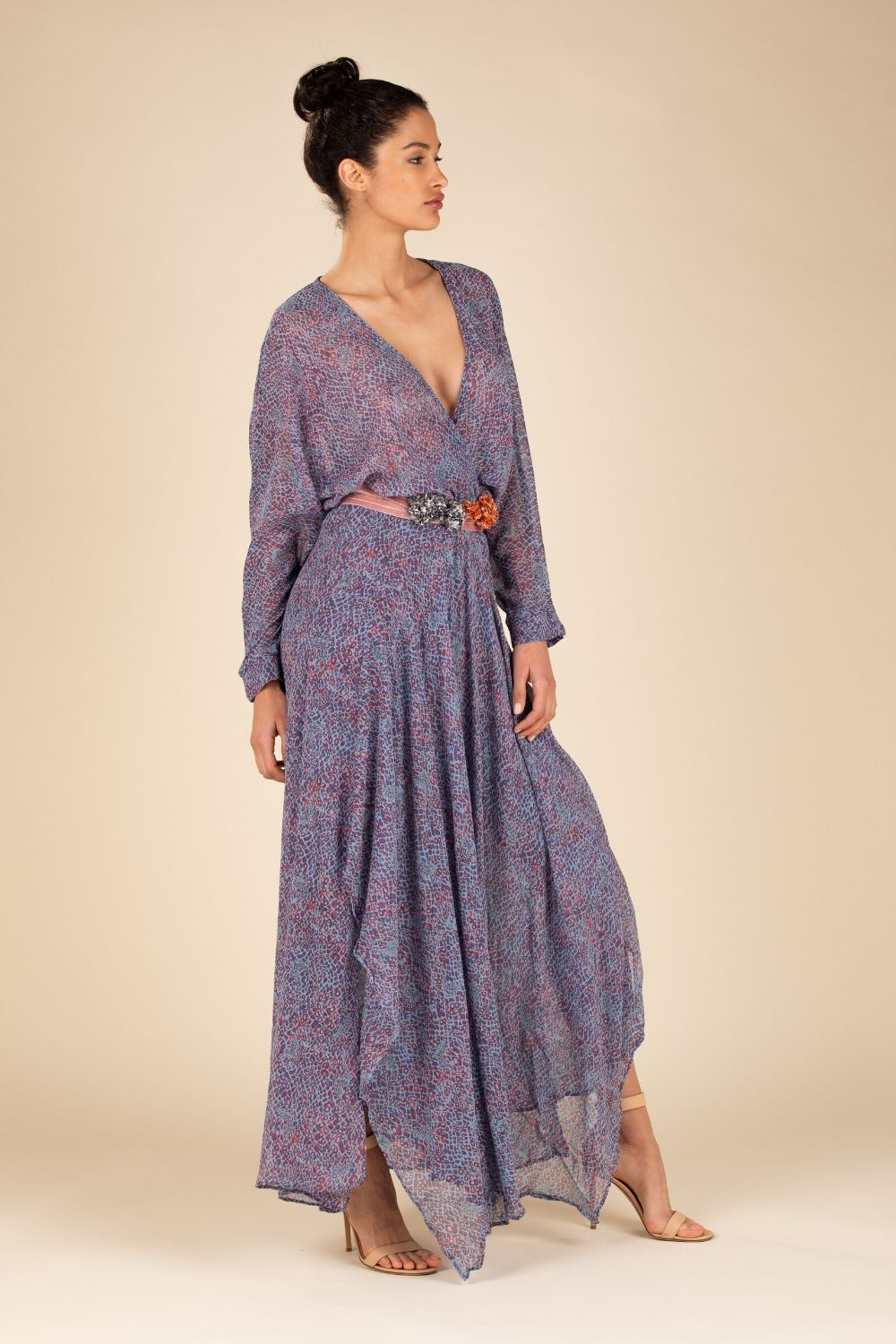 Long Dress Ilona Flounce - Blue Wild