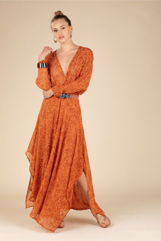 Long Dress Ilona Flounce - Orange Wild