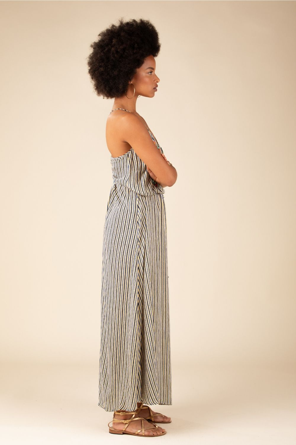 Long Dress Irma Open Back - Blue Stripe