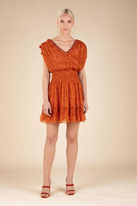 Long Dress Irma Broderie - Orange Rombus