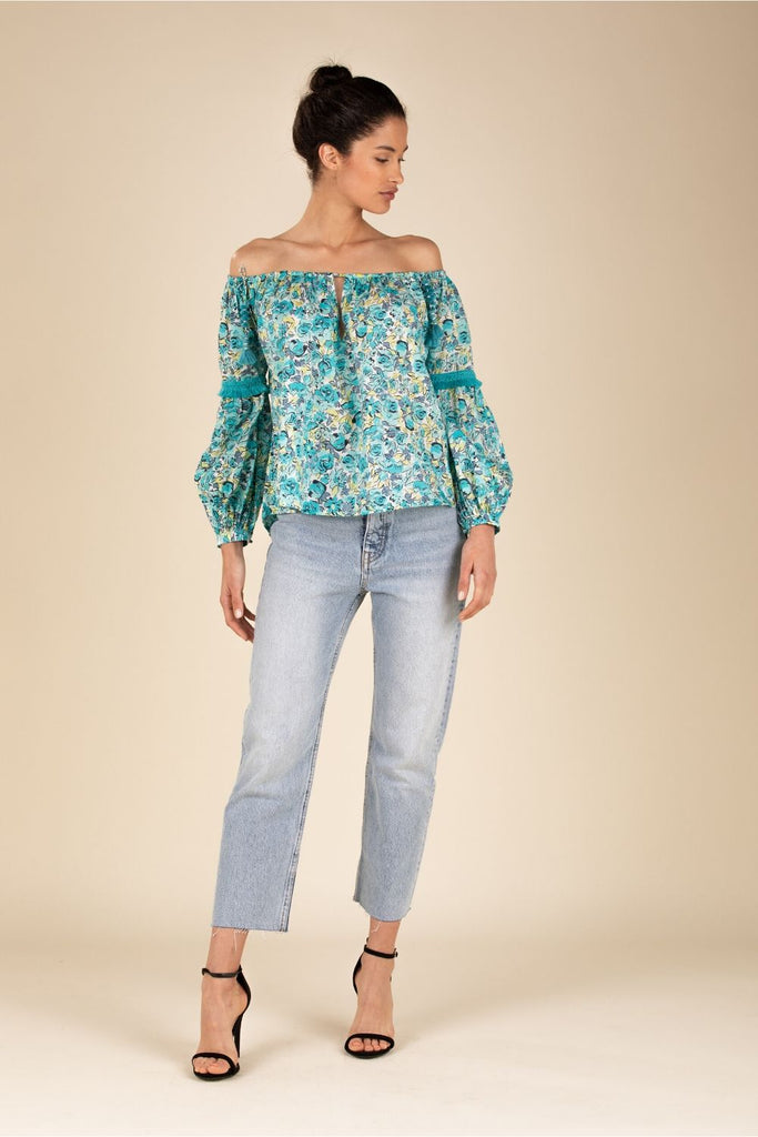 Top Blouse Kimi Long Sleeve - Green Rose