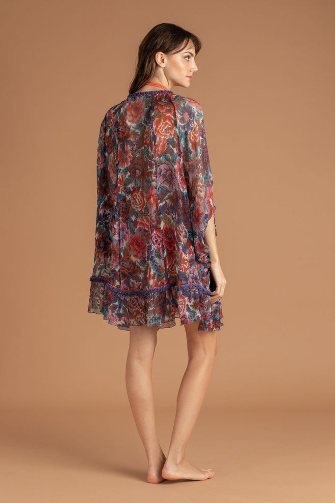 Dress Poncho Bety Ruffled - Blue Rugosa