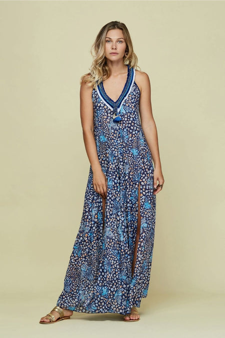 Long Dress Capri Lace Trimmed - Blue Gerbera