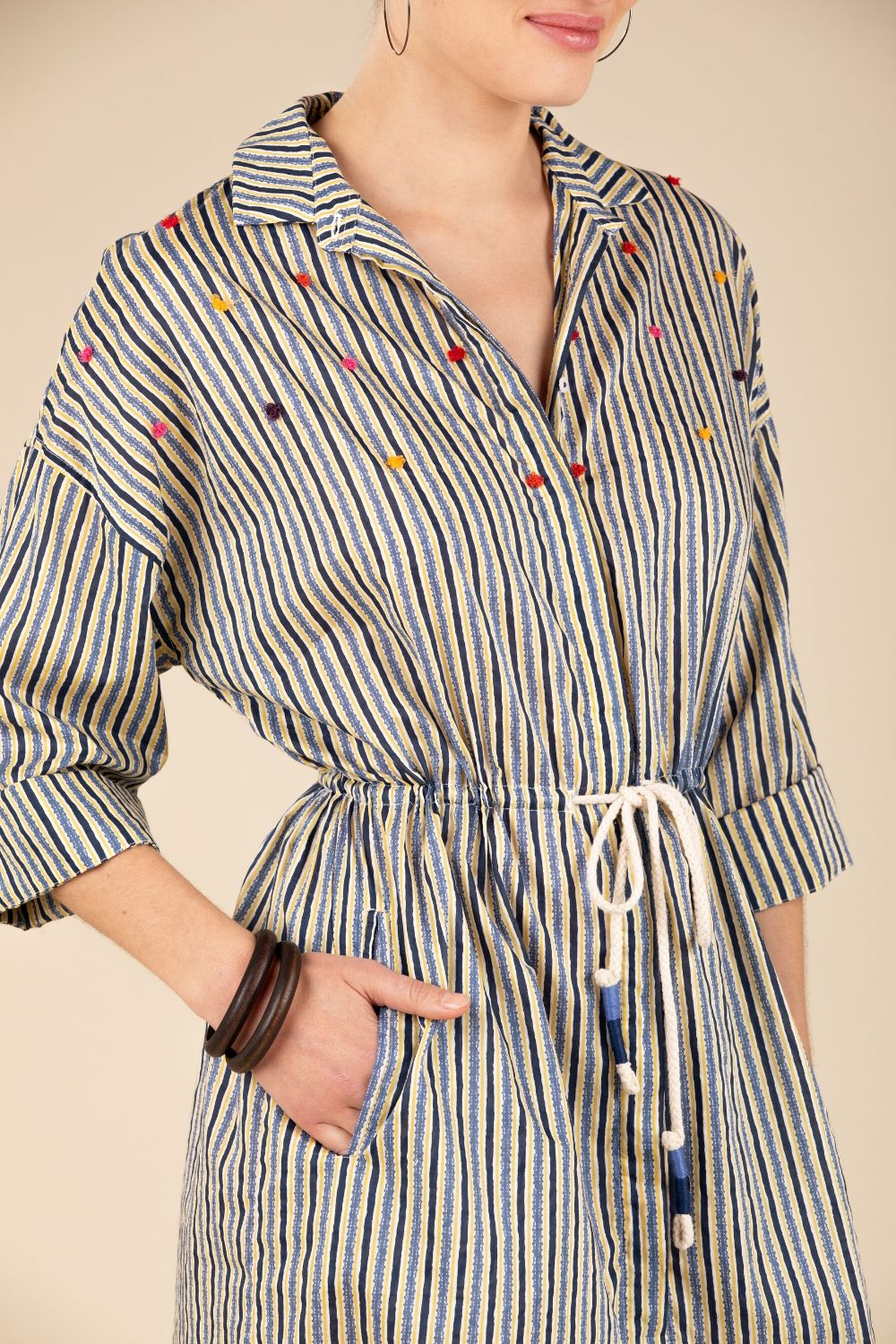 Dress Tunic Irma Broderie - Blue Stripe
