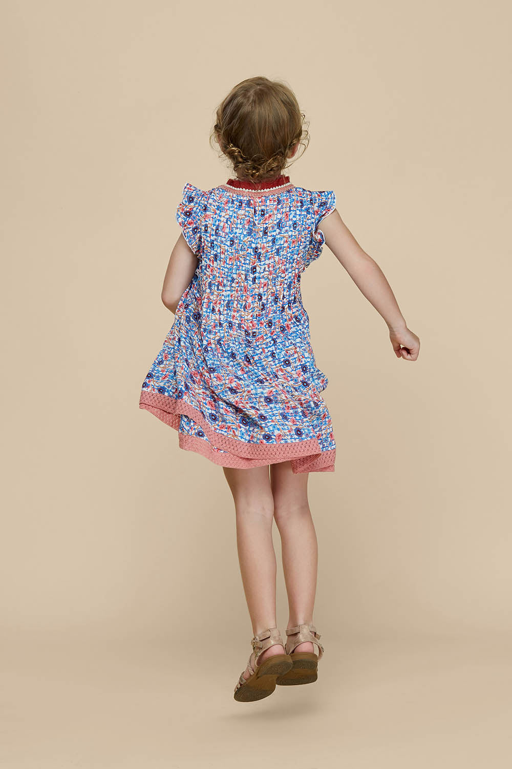 Kids Mini Dress Sasha Lace Trimmed - Blue Bloom