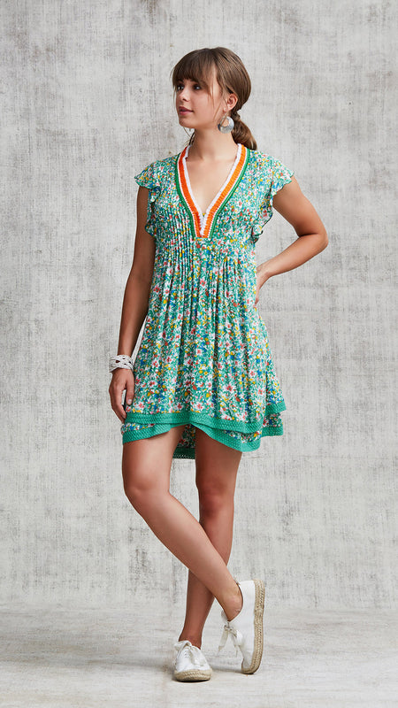 MINI DRESS AMORA LAYERED - GREEN AZALEA