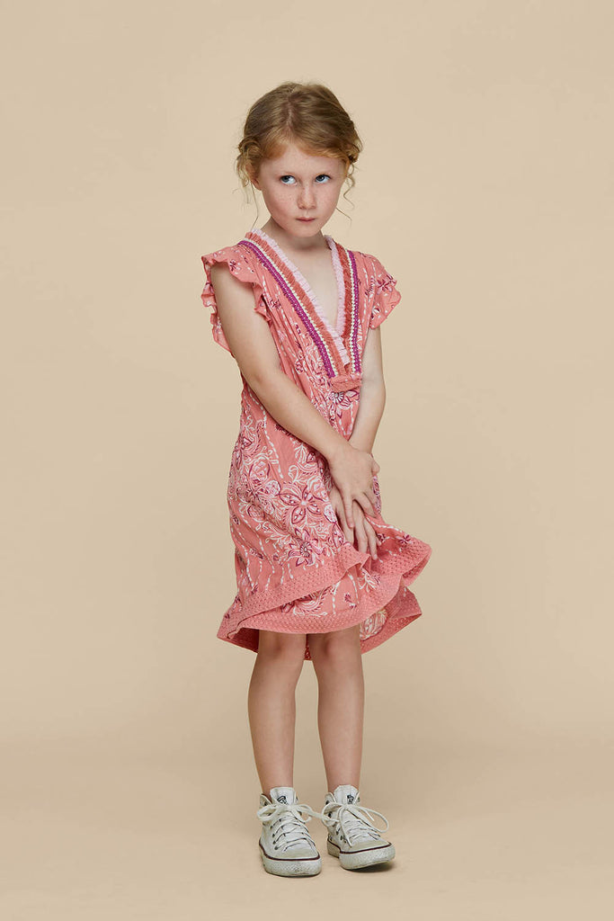 Kids Mini Dress Sasha Lace Trimmed - Pink Pineapple Batik Rombo