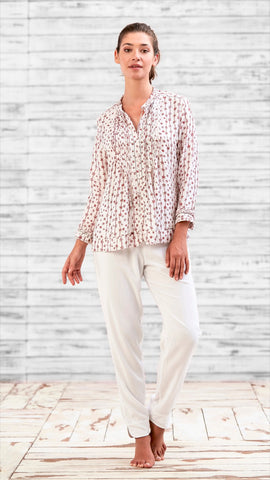 SHIRT ALICIA - WHITE RED FLOWER STRIPES