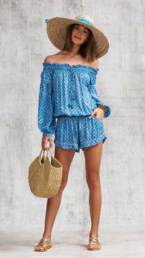 SHORT JUMPSUIT CLARA OFF SHOULDER - BLUE SMALL GEO FLOWER