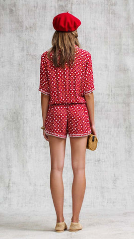 SHORT JUMPSUIT FOE LACE TRIMMED - RED MOON