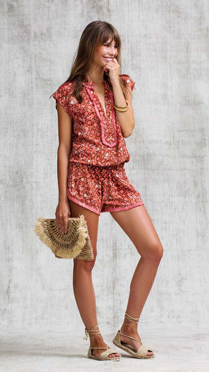 SHORT JUMPSUIT HEIDI LACE TRIMMED - ORANGE FLOWER BATIK