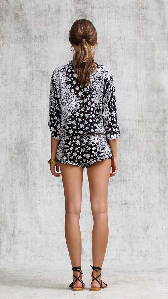 SHORT JUMPSUIT ILONA BRODERIE - BLACK BUTTERFLY BATIK VERTICAL