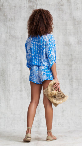 SHORT JUMPSUIT ILONA BRODERIE - BLUE BUTTERFLY BATIK VERTICAL