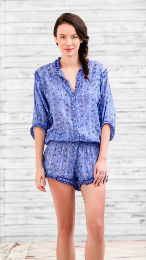 SHORT JUMPSUIT ALICIA - BLUE BLACK FLOWER STRIPES