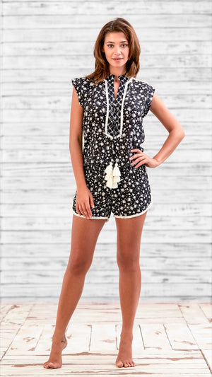 SHORT JUMPSUIT DONNA - BLACK TASSEL