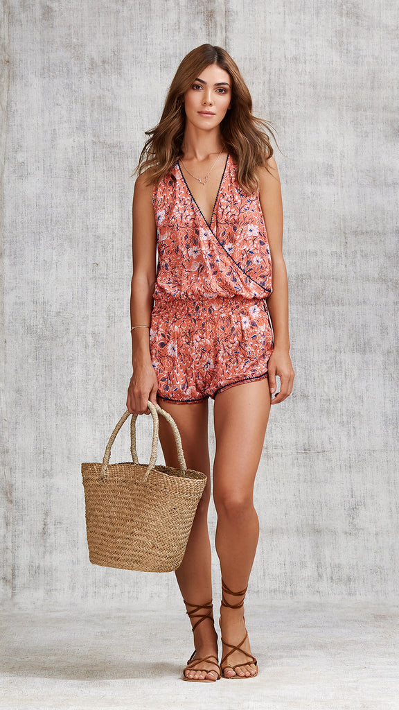 SHORT JUMPSUIT ELISE POMPOM TRIMMED - ORANGE CAMELIA