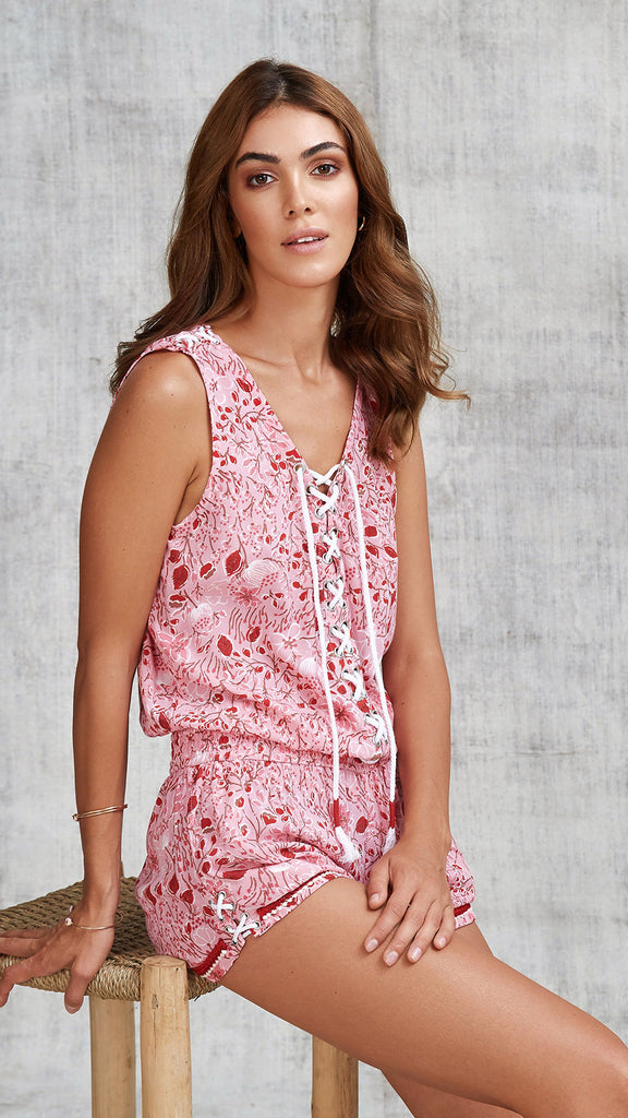 SHORT JUMPSUIT LUCY SLEEVELESS - PINK CAMELIA