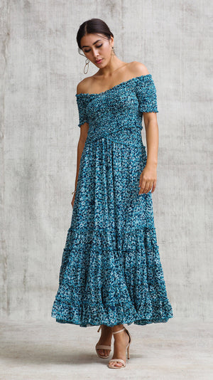 DRESS SOLEDAD OFF SHOULDER - BLUE FANTASY