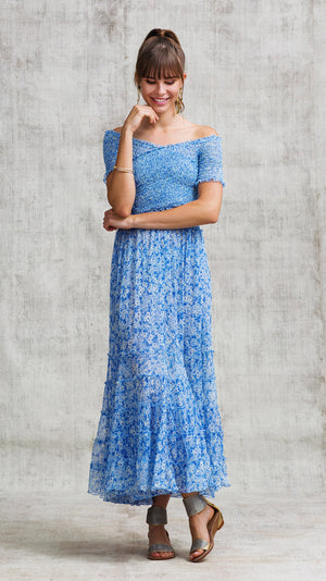 DRESS SOLEDAD OFF SHOULDER - BLUE ICY LIBERTY