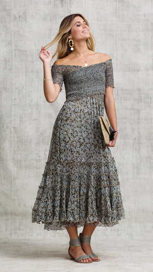 DRESS SOLEDAD OFF SHOULDER - CHOCO ICY LIBERTY
