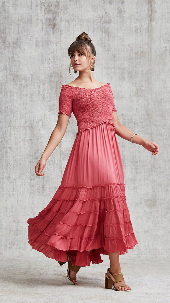 DRESS SOLEDAD OFF SHOULDER  - PINK