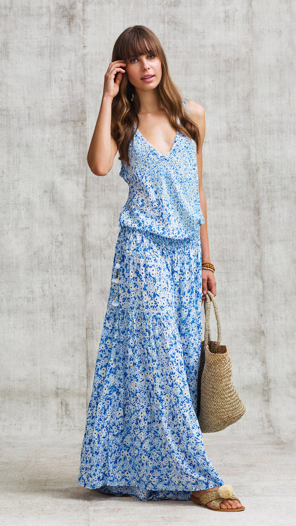 LONG JUMPSUIT SOLEDAD V NECK - BLUE ICY LIBERTY