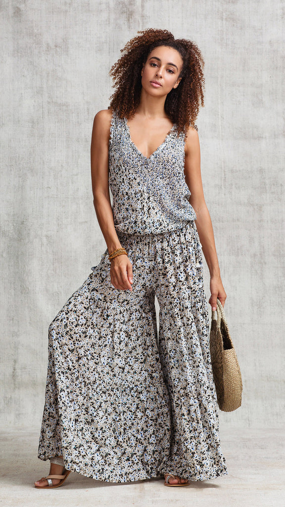LONG JUMPSUIT SOLEDAD  V NECK - CHOCO ICY LIBERTY