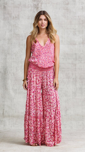 LONG JUMPSUIT SOLEDAD V NECK - PINK ICY LIBERTY
