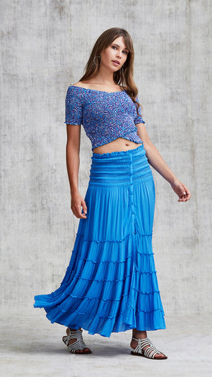 LONG SKIRT FOE PANELLED - CLASSIC BLUE