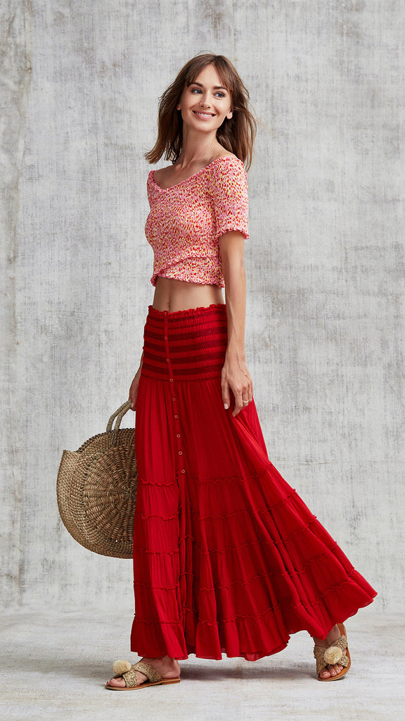 LONG SKIRT FOE PANELLED - RED