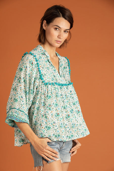 Top Blouse Fiona Smocked - Blue Pineapple Batik Rombo